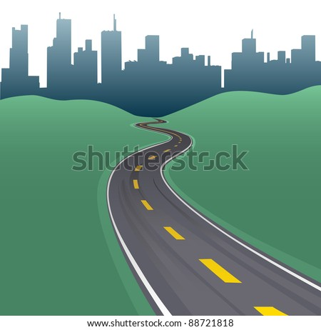 Highway path curves toward city buildings urban skyline - stock vector