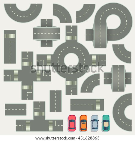 Highway road construction map top view vector elements. Part of road highway, illustration highway road for traffic