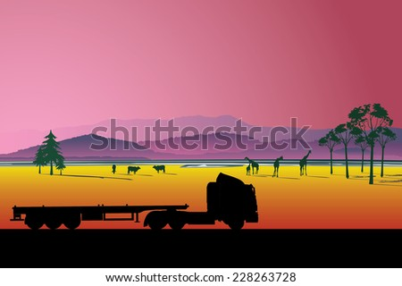 Highway roadway landscape and heavy duty trucks detailed silhouettes illustration background - stock vector