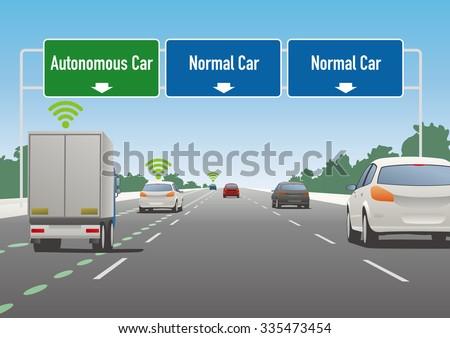 highway sign illustration, autonomous car lane, normal car lane - stock vector