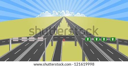 highway to horizon - stock vector