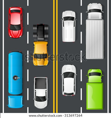 Highway traffic concept with top view cars and trucks on asphalt road vector illustration - stock vector
