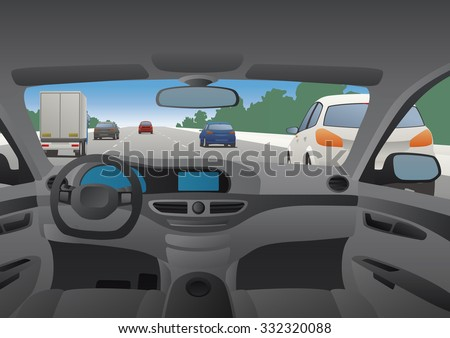 Highway viewed from the motor vehicle - stock vector