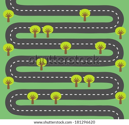 Highway with trees on each side - stock vector