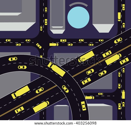 Highways with lots of cars and tracks. Map of traffic congestion and urban transport. Top view of the city with houses and highways.Easy to edit vector illustration of aerial view of traffic.