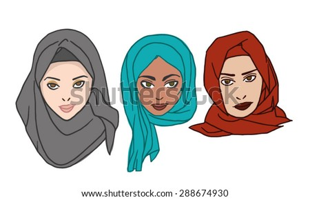 Hijab women vector hand drawn illustration - stock vector
