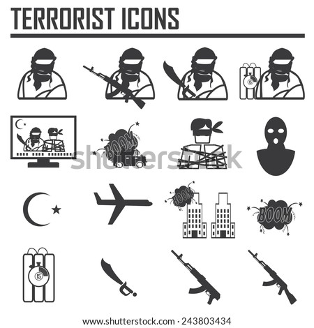 Hijacker Terrorist Airplane car bomb,vector Icon Clip art - stock vector