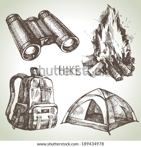 Hike and camping tourism hand drawn set. Sketch design elements - stock vector