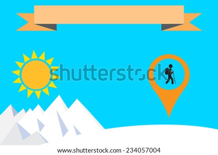 hiker and map pointer  - stock vector