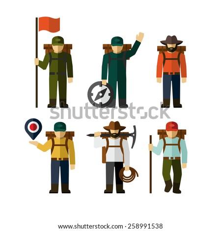 Hiker Backpack Traveler Vector Figure Icon  - stock vector