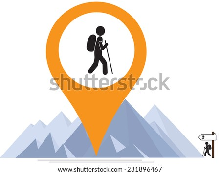 hiker mountains and map pointer