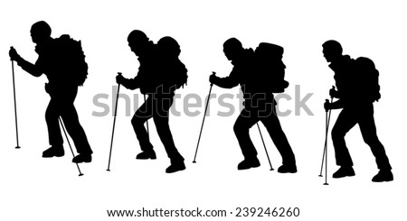 hiker v3 silhouettes on the white background - stock vector