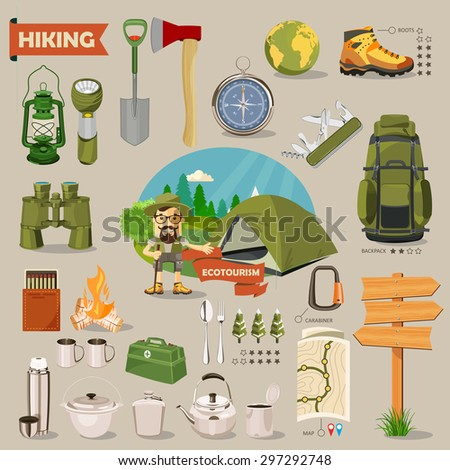 Hiking and camping. Summer landscapes. Vector illustration. Flat design.
