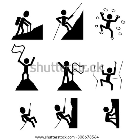 Hiking and climbing icon. Set of extreme sport symbol. vector illustration - stock vector