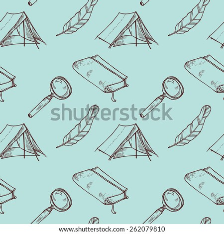 Hiking and discovering object set in vector - stock vector