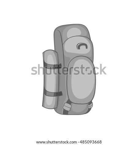 Hiking backpack icon in black monochrome style isolated on white background. Bag symbol vector illustration