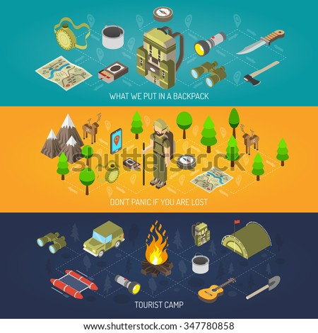 Hiking banner equipment and tourist camp with backpack tent axe compass binoculars bonfire flashlight vector illustration - stock vector