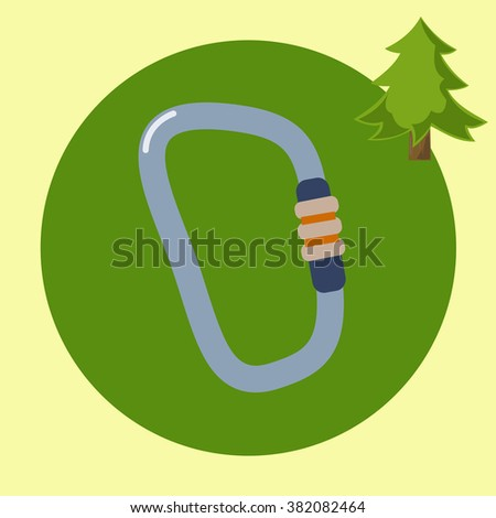 Hiking equipment Travel and exploration flat design silhouette illustrations. Mountaineering carabiner tool  - stock vector