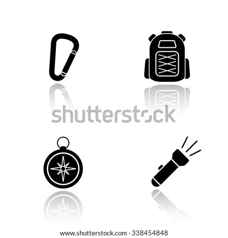 Hiking gear drop shadow icons set. Mountaineering and rock climbing equipment, carabiner lock, tourist backpack, compass, flashlight. Cast shadow logo concepts. Vector black silhouette illustrations - stock vector