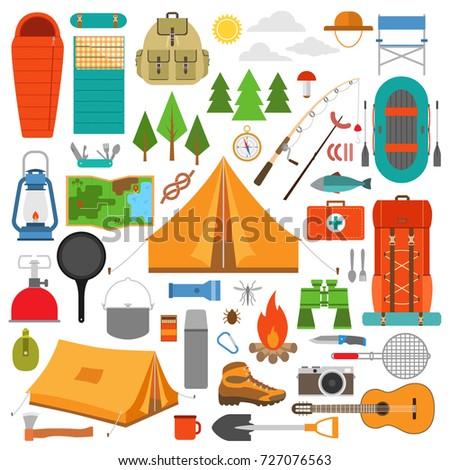 Camping Equipment Vector Illustration