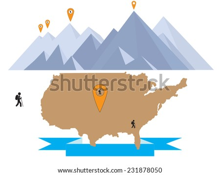 hiking in US mountains  - stock vector