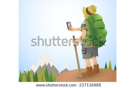 hiking man vector illustration while taking panoramic picture  - stock vector