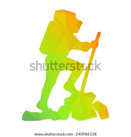 hiking man vector multicolor silhouette - stock vector