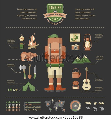 Hiking, mountain climbing and camping equipment  - icon set and infographics - stock vector