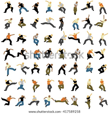 Hilarious characters dancing and jumping in the air. Various shapes, minimalist stylized people of different professions, colors vector illustration template. Abstract texture, pattern, bg.