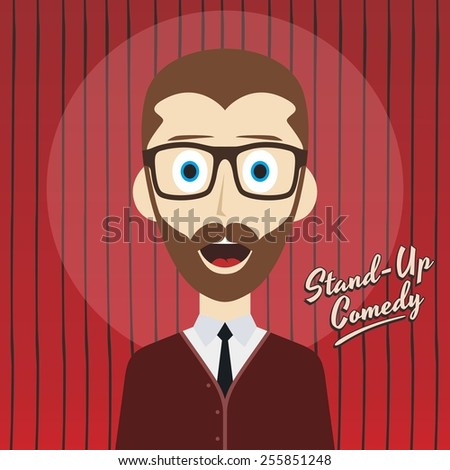 hilarious comedy guy - cartoon character - stock vector