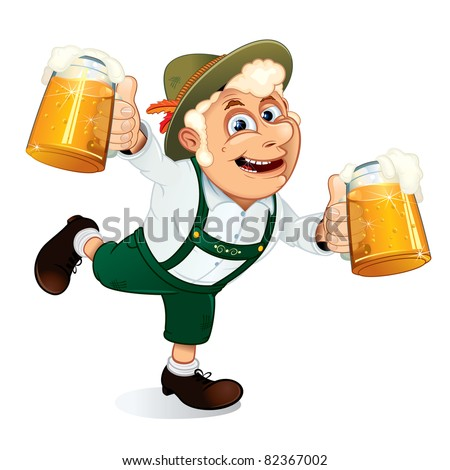 Hilarious Drunk Guy with mugs of beer at hands on a Oktoberfest festival, vector illustration - stock vector