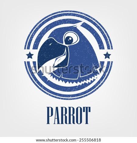 Hilarious parrot. - stock vector