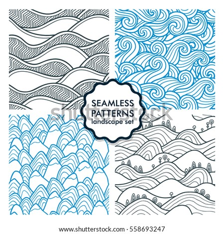 Hills and mountains seamless patterns. Set of vector illustrations with landscapes and sea waves. Collection of abstract nature backgrounds. Peaks.