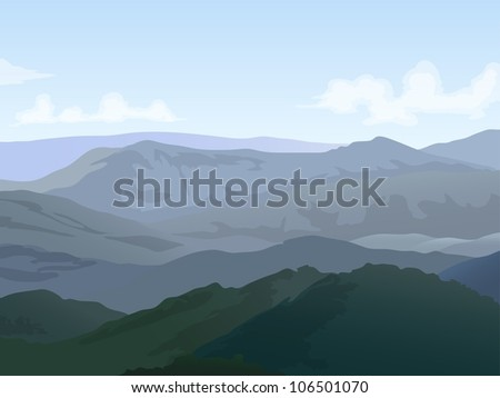 hills landscape with cloudy blue sky  background - stock vector