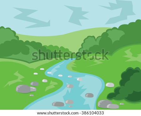 Hills Valley and Streams. Landscape view. Forest with Meadow, Trees, Bushes and River. Fast Stream with Rocks. Kids Book vector illustration. Digital background.