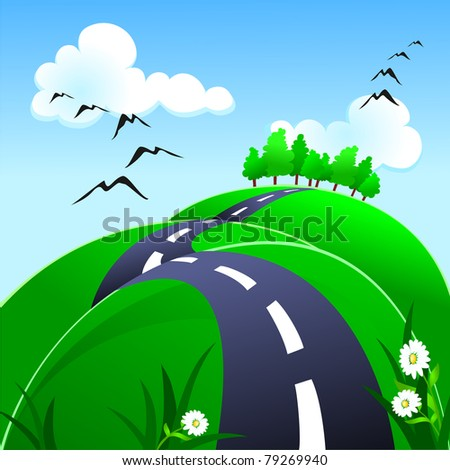 Hilly road, vector