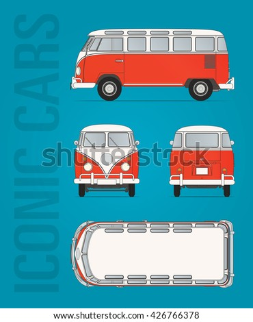 Hilversum, The Netherlands - May 26, 2016: Volkswagen T1 - 1950-1967,  vector illustration - illustrative editorial