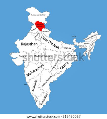 Himachal Pradesh state, India, vector map silhouette illustration isolated on India map. Editable blank vector map of India.