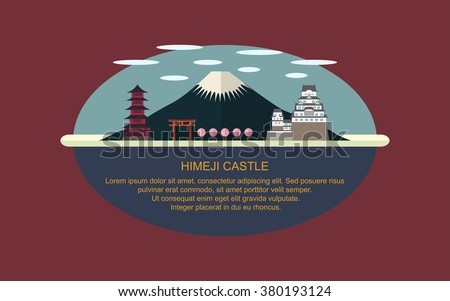 Himeji Castle and Japanese pagoda with Cherry blossom tree in flat icon design ,infographic (vector) - stock vector