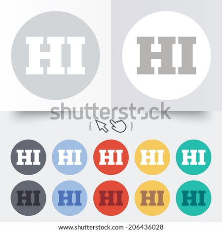 Hindi language sign icon. HI India translation symbol. Round 12 circle buttons. Shadow. Hand cursor pointer. Vector