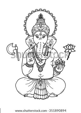 Hindu elephant head God Lord Ganesha. Indian, Hindu motifs. Tattoo, yoga, spirituality, textiles.  - stock vector