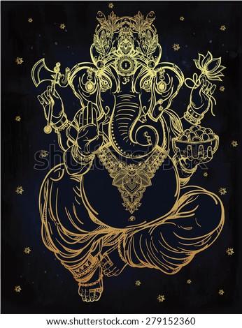 Hindu elephant head God Lord Ganesha, patron of arts,  sciences. Vintage decorative vector elements isolated. Hand drawn paisley background. Indian, Hindu motifs. Tattoo, yoga, spirituality, textiles. - stock vector