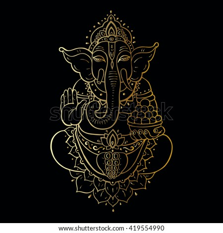 Hindu God Ganesha. Golden Ganapati. Vector hand drawn illustration. Meditation in lotus pose.