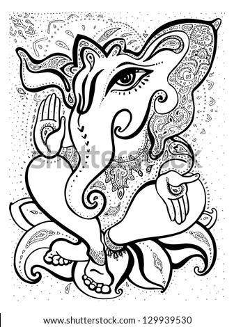 Hindu God Ganesha. Ornamental Vector hand drawn illustration. - stock vector