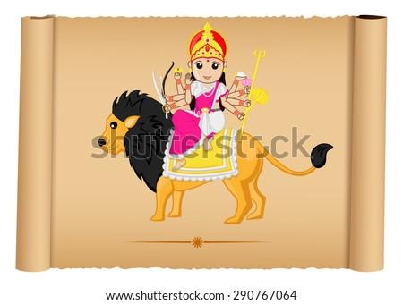 Hindu Goddess Maa Durga Illustration - stock vector