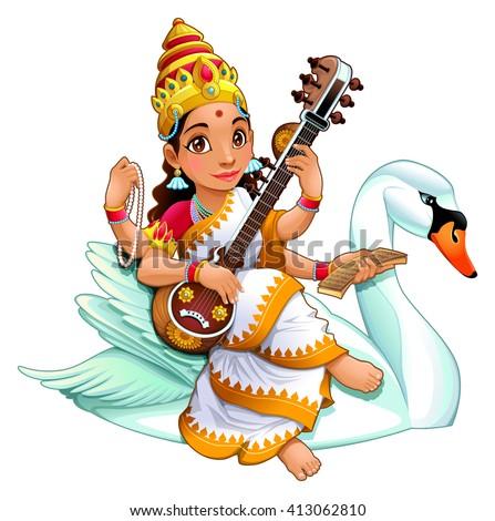 Hindu goddess of knowledge. Vector cartoon illustration. - stock vector