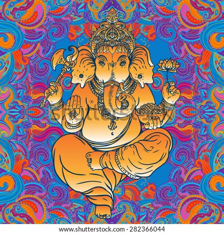 Hindu Lord Ganesha over ornate colorful mandala. Vector illustration. - stock vector