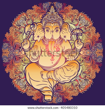 Hindu Lord Ganesha over ornate colorful mandala. Vector illustration. Vintage decorative vector elements isolated. Hand drawn paisley background. Indian motifs. Tattoo, yoga, spirituality, textiles. - stock vector