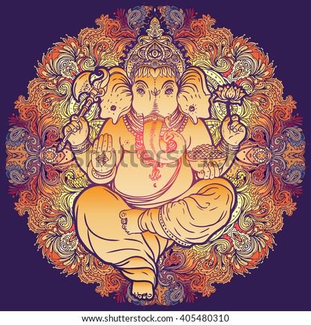 Hindu Lord Ganesha over ornate colorful mandala. Vector illustration. Vintage decorative vector elements isolated. Hand drawn paisley background. Indian motifs. Tattoo, yoga, spirituality, textiles. - stock vector