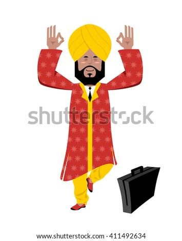 Hindu meditating. Indian businessman in turban standing on one leg. Man from India in turban and national yoga suit. Indian business Yogi - stock vector